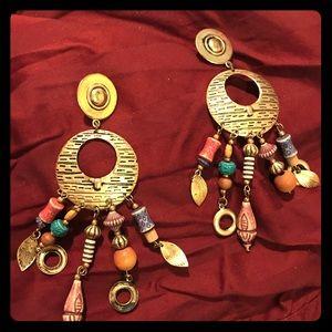 Flirty long colorful pierced earrings